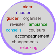 aider     écouter guider    organiser      revisiter   ambiance   conseils      couleurs         accompagnement   changements   relooking